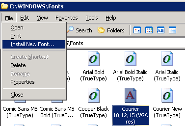 TTF font install in Windows